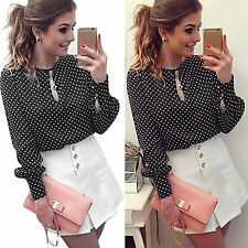 Women Ladies Polka Dot Long Sleeve Casual Loose Chiffon Blouse Shirt Top T-shirt
