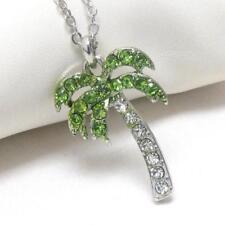 Palm tree green crystal pendant