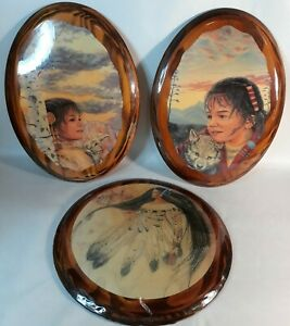 Vtg 3 Wooden Pictures Of Indian Girls-Woman Hangeable 10in