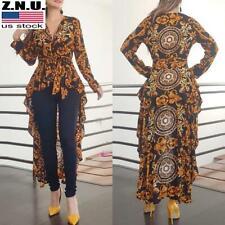 Womens Printed Long Shirt High Low Tops Ladies Long Sleeve Asymmetric Blouse Tee