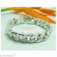 Men's Classic 22K 23K 24K THAI BAHT WHITE GOLD GP Bracelet 103 Gram 9 Inch B009
