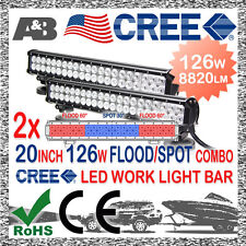 """2x 20"""" 126W OFFROAD DRIVING LIGHT BAR - CREE LED 8820LM +FREE CABLE FLOOD SPOT"""