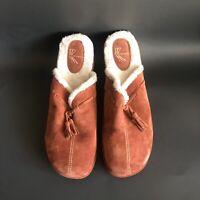 White Mountain Women's Size 10 W Brown Suede Shearling Mule Clog Shoe