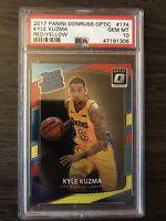 2017-18 Donruss Optic Kyle Kuzma Rated Rookie Red Yellow PSA 10 RC