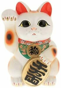 "Japanese 常滑焼 Tokoname 13""H raised right paw Maneki Neko Coin Bank Made in Japan"