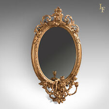Antique Girandole Gilt Gesso Mirror, Wall, Vanity, Rococco, Late Georgian c.1800