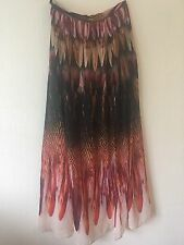 Topshop Feather print chiffon Maxi Skirt Size 6 nwot