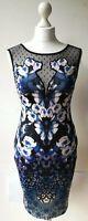 LIPSY DRESS UK10 black knee length bodycon floral animal print stretch...