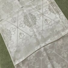 Japanese VTG Rinzu white silk Kimono fabric thin light glossy floral woven Boro