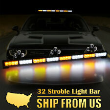 "35"" 32 LED Amber White Traffic Advisor Emergency Hazard Warning Strobe Light Bar"