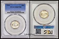 1941 PCGS MS67FB Mercury Silver Dime ~ #83968665 ~ Full Band ~