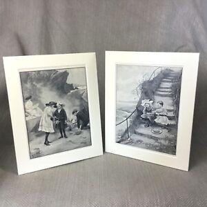 Antique Victorian Prints Children Girls Beach Seaside Ca. 1899