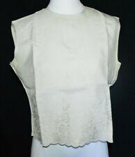 Khaki Linen Floral Flower Embroidered Button Back Tank Top Blouse Vintage Size M