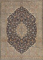 Vintage Floral NAVY BLUE Kirman Area Rug Hand-Knotted Living Room Carpet 8'x11'