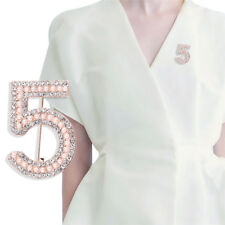 Letter 5 Brooch Pin Rhinestone Crystal Coat Collar Brooch Wedding Jewelry GiftSR
