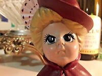 Vintage Victorian Lady Christmas Ornament Hand Painted Ceramic And Lace Holiday