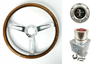 """15"""" Walnut Steering Wheel Pony Horn Button & Adapter For 1964-1967 Ford Mustang"""