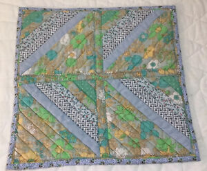 Patchwork Quilt Table Topper, Small, Logs, Floral Calico Prints, Blue, Green