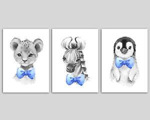 3 Black And White Safari Animals With Blue Bow Ties Boys Nursery Wall Art Prints