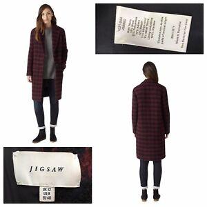 JIGSAW Women's Winter Dogtooth Coat Burgundy Navy Wool Blend Size UK 12