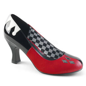 Black Red Evil Queen of Hearts Poker Costume Womans Shoes Heels size 7 8 9 10 11