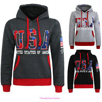 NEW WOMENS USA HOODIE LADIES AMERCIAN TRACKSUIT SWEAT HOODED TOP SIZES 8-14