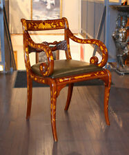 Gorgeous hand inlaid hand carved mahogany wood chair with genuine green leather