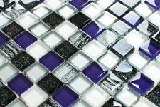 LUXUS Glasmosaik Fliesen Mosaik violette silber schwarz mit Glitzer weiss 8mm