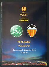Programm UEFA EL 2013/14 FC St. Gallen - Valencia CF