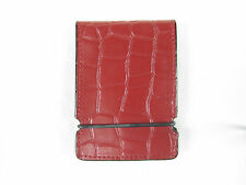 Sunfish hand stitched leather cash cover wallet Red Croc