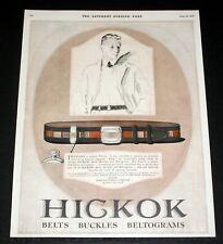 1926 OLD MAGAZINE PRINT AD, HICKOK BELTS, BUCKLES, BELTOGRAMS, SINCERE FLATTERY!