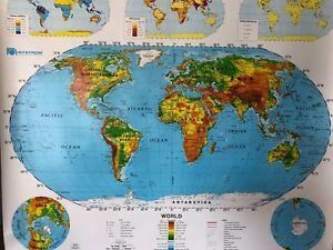 Pull Down School Maps 2 Layer World, U.S. Vintage, Salvage, Antique.