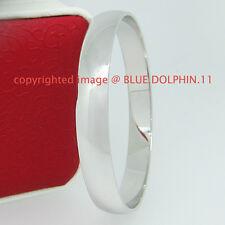 Brand New Real Womens Solid 18k White Gold GF Round Plain Bangles Bracelet Band