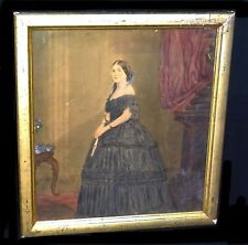 19C Victorian Gouache WC Portrait Painting Woman in Interior illegibly sign(Sto)