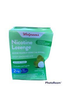 Walgreens Nicotine Lozenges 2mg Strip 72 Count Mint Stop Smoking Aid Exp:04/22