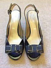 Gabor ladies black patent leather lined peep toe shoes UK size 5.5
