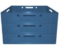 3 Stück Metzgerkiste Kunststoffkiste Fleischkiste Größe E1 Farbe blau Gastlando