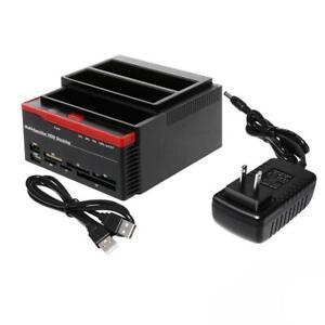 "2021 USB 3.0 SATA 2.5""/3.5"" HDD Dual Hard Drive Docking Station Card UK"