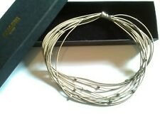 Stainless Steel Wire + Cubes Modernist Choker Necklace,Quadri Design Boxed #159