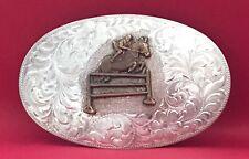 VTG Sterling Silver FENCE JUMPING STEEPLECHASE HORSE SHOW Equestrian BELT BUCKLE