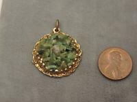 "Vintage Jade Green Agate Stone Pebble 1"" Round Gold tone Pendant Cb 80"