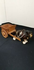 Small Vintage ceramic Shire Horse & Wooden Cart Cottagecore height 10 cm