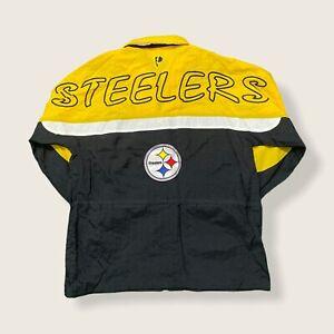 Vintage PRO PLAYER Pittsburgh Steelers NFL Zip Windbreaker JACKET Large 90s