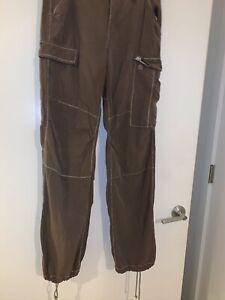 Da-Nang 100% Silk Distress Cargo Pants Dark Khaki  Rare Find Sz Medium
