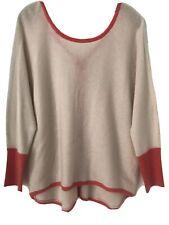 Subtle Luxury Cashmere Dolman Sweater Coral Pink Trim Accent Size M / L