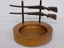 Walnut DOUBLE BARREL SHOTGUN TRAY , also a vintage bowl / desk / dresser set .