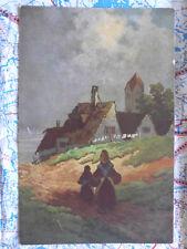Landschaft Wandern Dorf Gemälde Kunstwerk Postkarte Ansichtskarte 3025