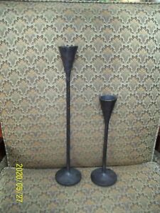 "Pottery Barn Rustic Petaluma Taper Candle Holders 18"" 12"" Candlesticks metal"