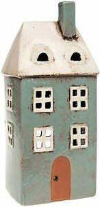 Ceramic Tall Grey House Village Pottery Country Cottage Ornament Tealight Holder
