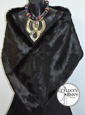 Australian Made Black Faux Fur Wrap Shawl SECOND Bridal by Lucy's Envy W102-17